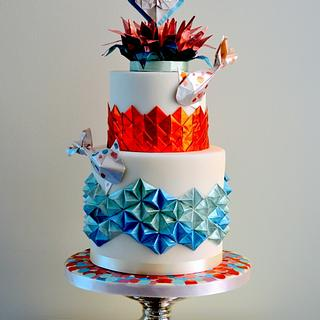 Wedding cake with koi fish and origami
