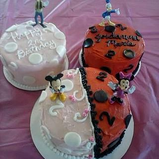 Pink & Red Mickey and Minnie Cake