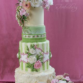 "Wedding cake ""Ribbons, laces and flowers"""