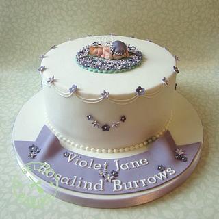 Sleeping violet baby fairy christening cake