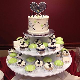 Tennis & Music Cake and Cupcake Tower