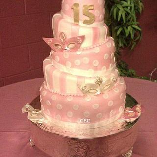 Mascarade Themed 15th Birthday Cake