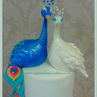 Peacock Wedding Cake & Cascading Cupcakes