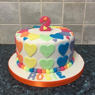 Colourful heart cake 💜💙💚💛❤️
