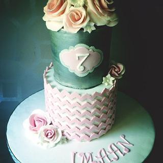 Pink chevron vintage cake