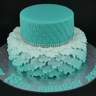 Turquoise Ombre Ruffle and Quilted Birthday Cake