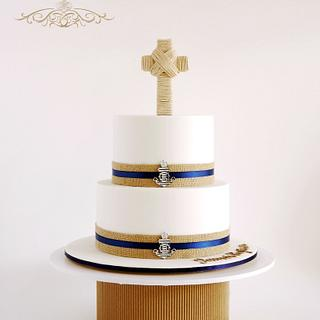 Nautical Baptism Cake (for little boy) - Cake by Leah Jeffery- Cake Me To Your Party