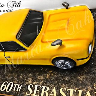 "3D sculpted car cake""Ford Capri 1970"""
