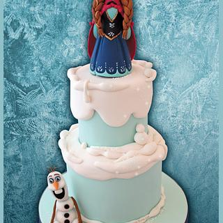 Frozen Ana & Olaf Birthday Cake