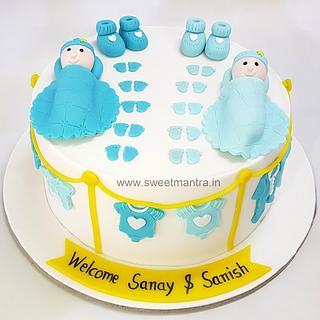 Customized designer cake for welcoming newborn twin boys