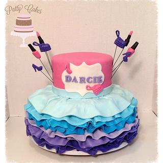 Ombre Ruffle party dress cake