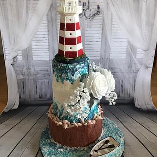 Maritim Wedding cake with lighthouse