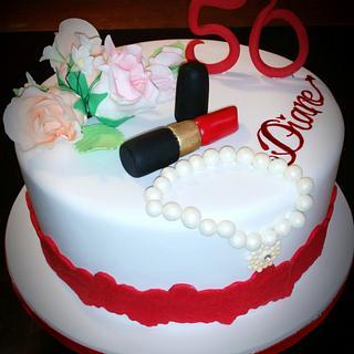 Red Lipstick & a Pearl Bracelet 50th Birthday Cake