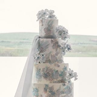 Seaside blues wedding cake