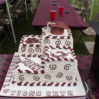 Maroon and White Graduation Cake
