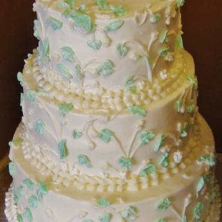Buttercream wedding cake Leaves and branches