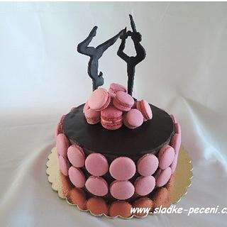Gymnastics chocolate cake with macaroons