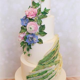 Green Ruffle Wedding Cake