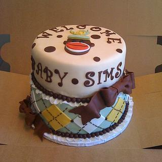 Gender Reveal Sock Monkey Cake - Cake by sugarmommas