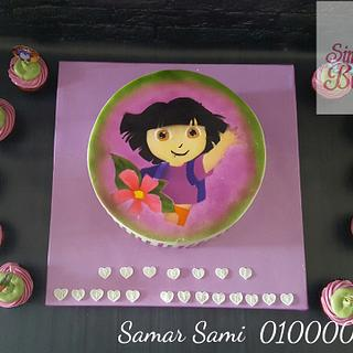 Dora the explorer airbrushed cake