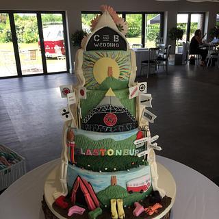Glastonbury themed reveal wedding cake