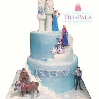 Icy frozen castle cake