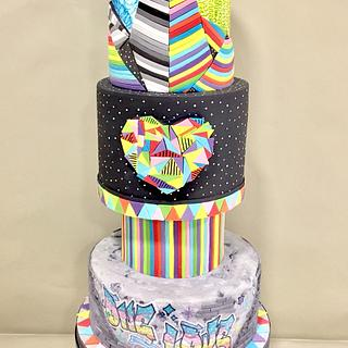 Okuda wedding cake - my silver at Cake International