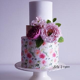 Peony cake - Cake by Betsy Vergara Pitot