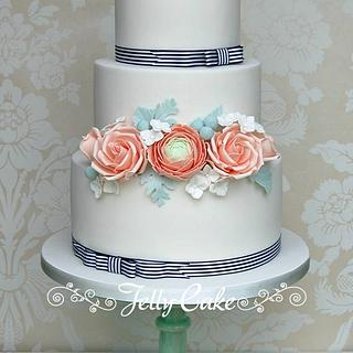 Peach Love Wedding Cake