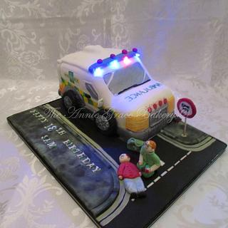 Ambulance cake with real Flashing lights.