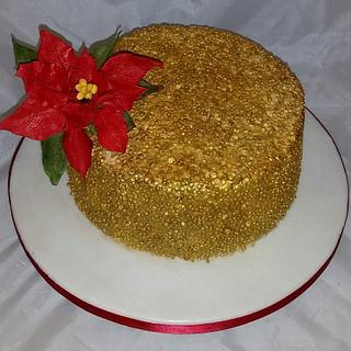 Gold sequin Christmas cake with poinsetta  - Cake by My Fair Cakes