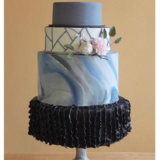 Shades of Blue and Jet Black Wedding Cake