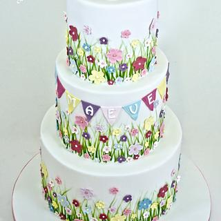 Summer Meadow Christening Cake