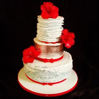 Silver leaf wedding anniversary cake