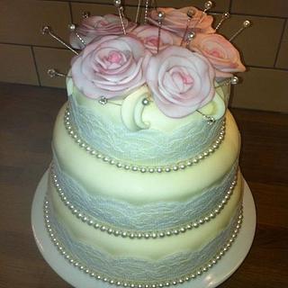 dawns wedding cake - Cake by Denise1968