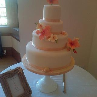 Tropical Vintage four-tier wedding cake