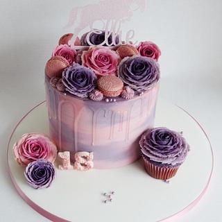 Watercolour buttercream roses drip cake - Cake by Angel Cake Design