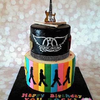 Guitar/Beatles/Aerosmith Birthday Cake