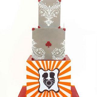 Poker themed wedding cake