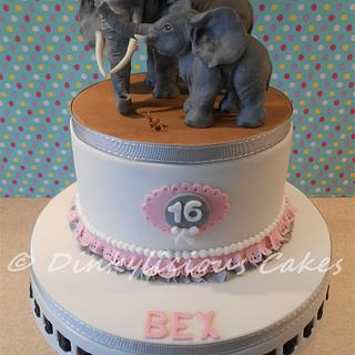 Mother and baby elephant cake.