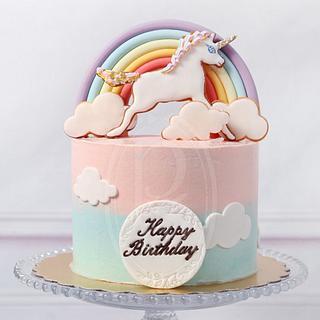 Rainbow Unicorn Butter Cream Cake