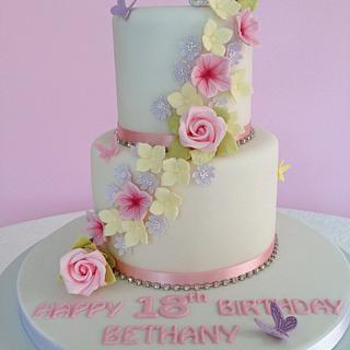 Pretty summer flowers birthday cake