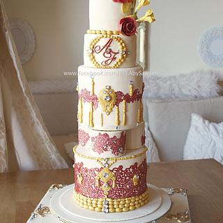 marsala & gold Asian wedding cake
