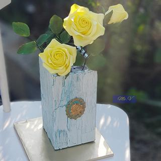 Wooden Vase and Roses