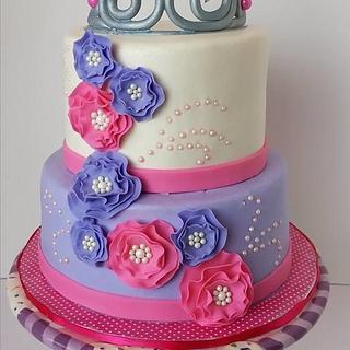 Purple and Pink Princess Birthday cake