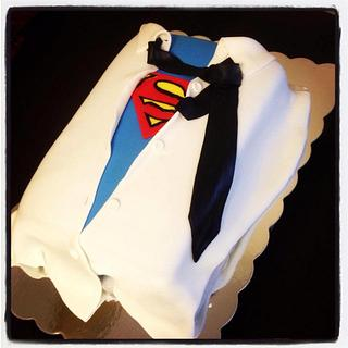 Superman theme groom's cake