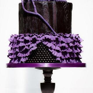 Black & Purple Gothic Wedding Cake - Cake by Sarah F
