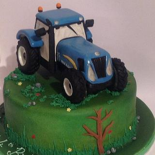 New Blue Holland Tractor Cake