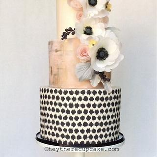Mixed media and wafer paper anemones - Cake by Stevi Auble