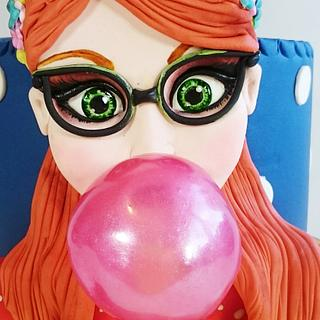 The Girl With The Pink Bubblegum - Cake by cristinabadea2008